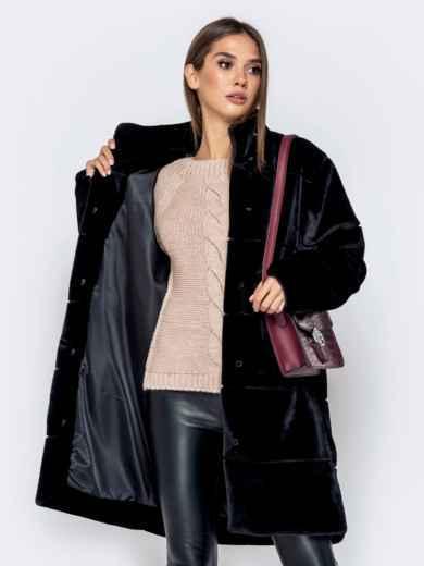 Искусственная шуба чёрного цвета с воротником-стойкой - 40182, фото 4 – интернет-магазин Dressa