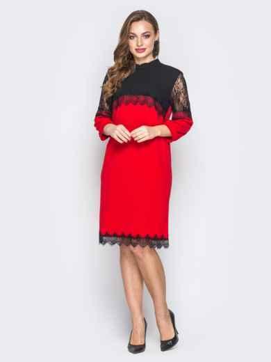 Красное платье с контрастной кокеткой и кружевом 20033, фото 2