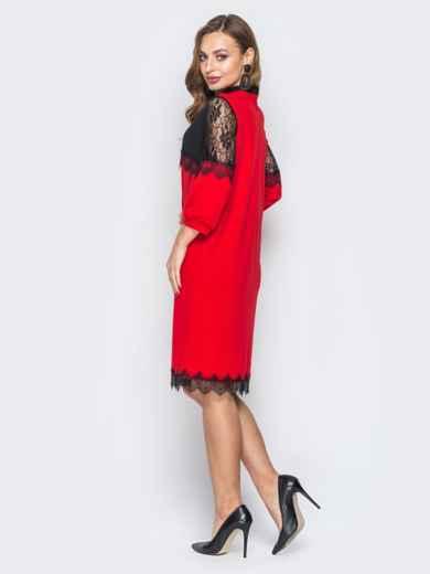 Красное платье с контрастной кокеткой и кружевом 20033, фото 3