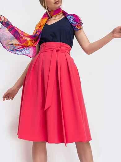 Расклешеная юбка с карманами коралловая 47316, фото 1