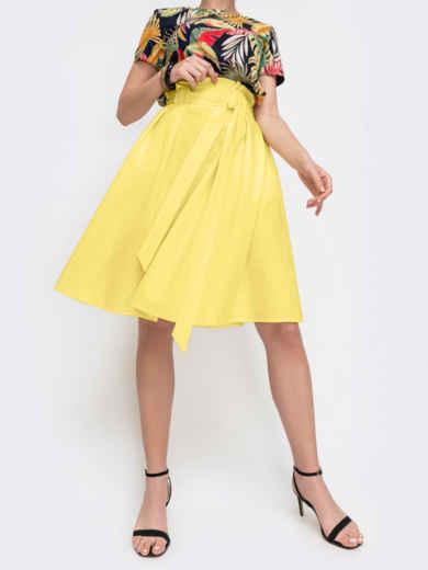 Расклешеная юбка с карманами желтая 47317, фото 2