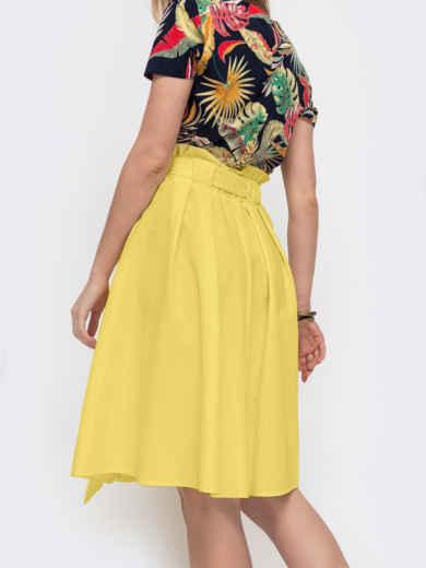 Расклешеная юбка с карманами желтая 47317, фото 3