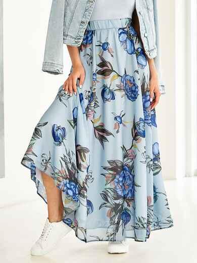 Шифоновая юбка-макси с цветочным принтом голубая 53998, фото 1