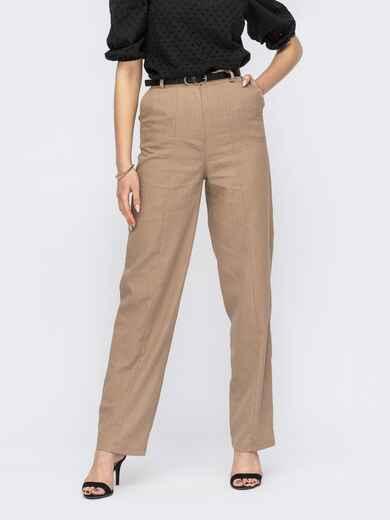Широкие брюки из льна с высокой посадкой бежевые 53777, фото 1