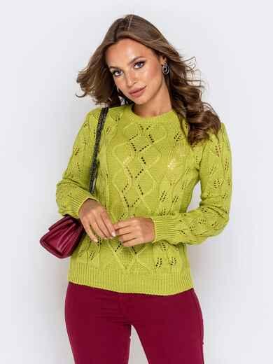 Свитер с ажурной вязкой зеленой - 41175, фото 1 – интернет-магазин Dressa
