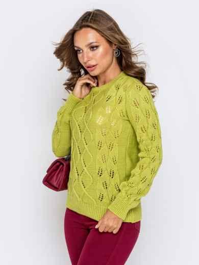 Свитер с ажурной вязкой зеленой - 41175, фото 2 – интернет-магазин Dressa