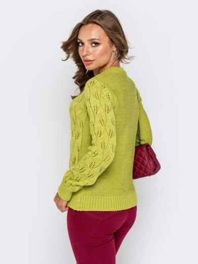 Свитер с ажурной вязкой зеленой - 41175, фото 3 – интернет-магазин Dressa