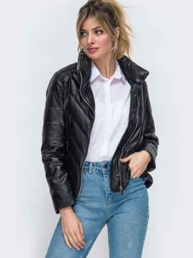 Демисезонная куртка из экокожи чёрная 45419, фото 1