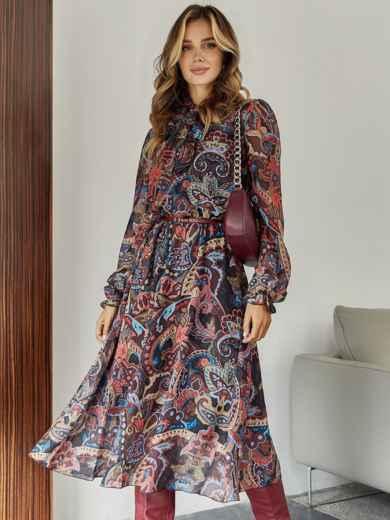 Бордовое платье с принтом и воротником-аскот 45083, фото 1