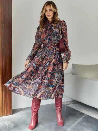 Бордовое платье с принтом и воротником-аскот - 45083, фото 2 – интернет-магазин Dressa