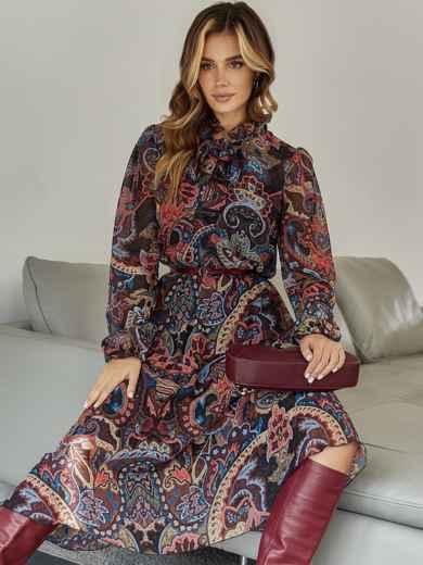 Бордовое платье с принтом и воротником-аскот - 45083, фото 3 – интернет-магазин Dressa