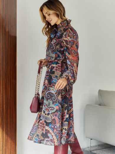 Бордовое платье с принтом и воротником-аскот - 45083, фото 4 – интернет-магазин Dressa