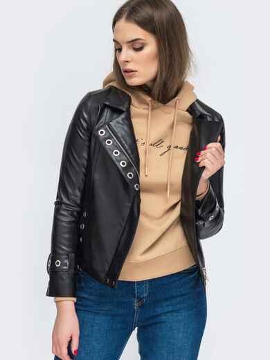 Чёрная косуха из эко-кожи с люверсами - 45414, фото 1 – интернет-магазин Dressa