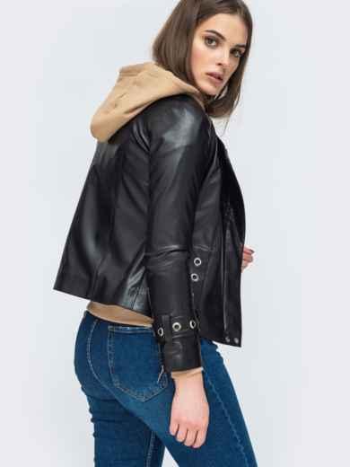 Чёрная косуха из эко-кожи с люверсами - 45414, фото 4 – интернет-магазин Dressa