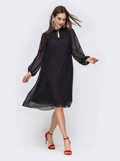 Чёрное платье-трапеция в горох с воротником-аскот 42905, фото 1