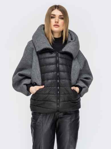 Куртка с объемным воротником цвета графит - 45417, фото 2 – интернет-магазин Dressa