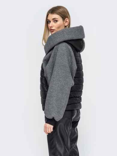 Куртка с объемным воротником цвета графит - 45417, фото 3 – интернет-магазин Dressa