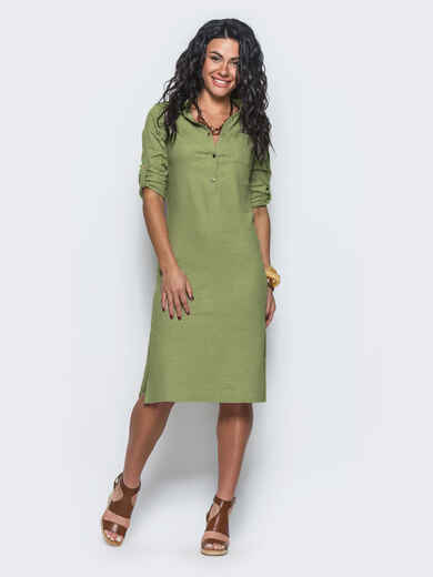 Льняное платье цвета хаки со шлёвками на рукавах 38724, фото 1