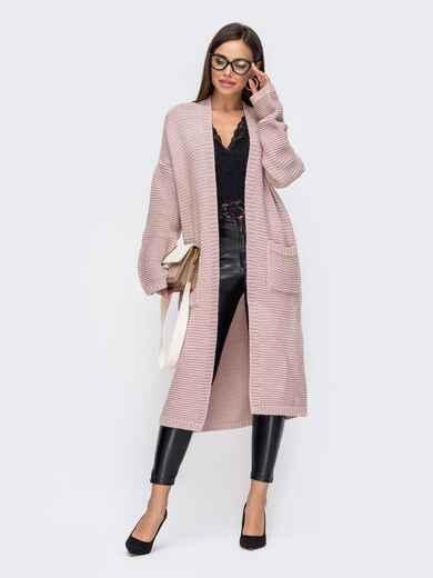 Oversize кардиган с накладными карманами розовый 15827, фото 1