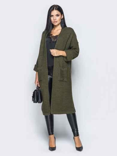 Oversize кардиган с накладными карманами тёмно-зелёный - 15828, фото 1 – интернет-магазин Dressa