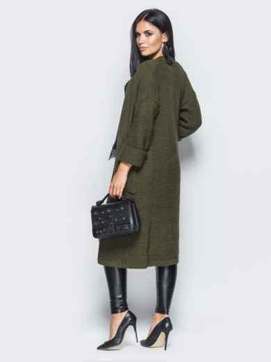 Oversize кардиган с накладными карманами тёмно-зелёный - 15828, фото 2 – интернет-магазин Dressa