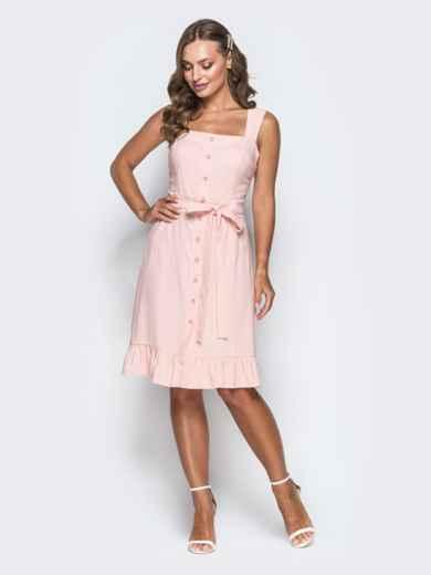 Персиковое платье с воланом по низу и вырезом каре 38573, фото 1