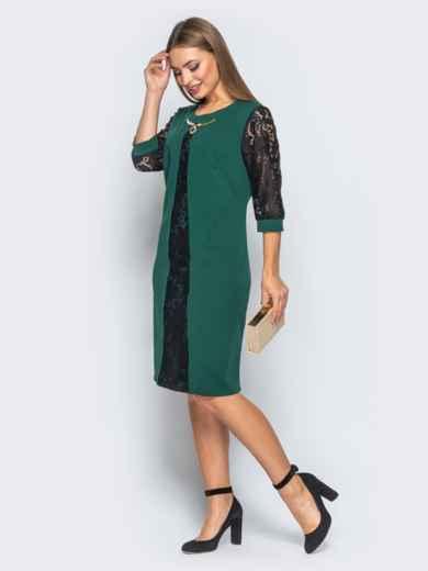 Платье с гипюром и фурниторой на полочке зелёное - 18144, фото 2 – интернет-магазин Dressa