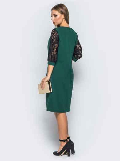 Платье с гипюром и фурниторой на полочке зелёное - 18144, фото 3 – интернет-магазин Dressa