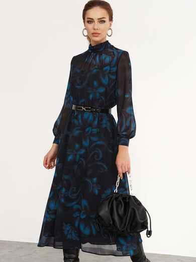 Расклешенное платье с принтом и воротником-стойкой черное 52539, фото 1