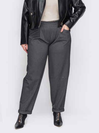 Серые брюки батал с элластичной деталью по талии 53109, фото 1