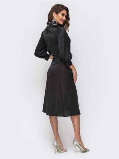 Шелковый комплект из блузки и расклешенной юбки чёрный 42917, фото 3