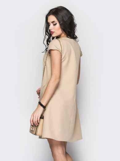 Стильное платье А-силуэта с кружевом бежевое 12593, фото 3