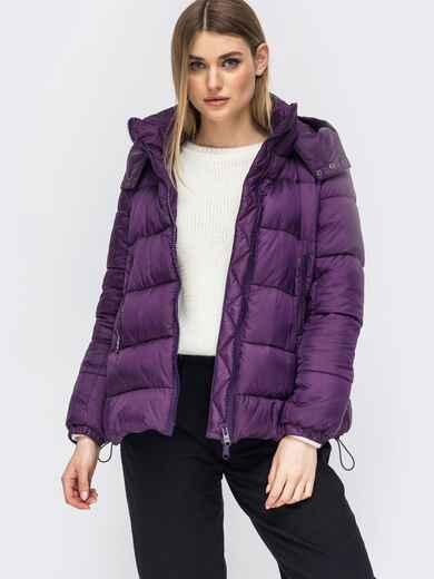 Зимняя куртка со съемным капюшоном фиолетовая 45420, фото 1