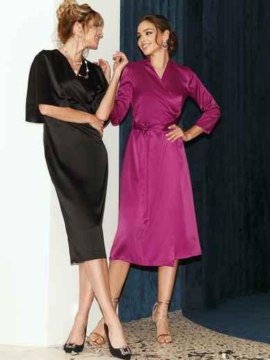 Атласное платье на запах розового цвета 52126, фото 1