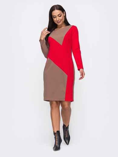 Бежевое платье батал со вставкой красного цвета 51458, фото 1