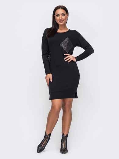 Черное платье батал с декоративным элементом в пайетки 51456, фото 1
