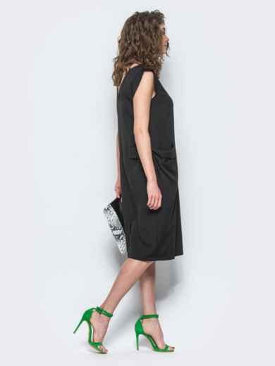 Черное платье с объемными карманами на полочке - 12503, фото 2 – интернет-магазин Dressa
