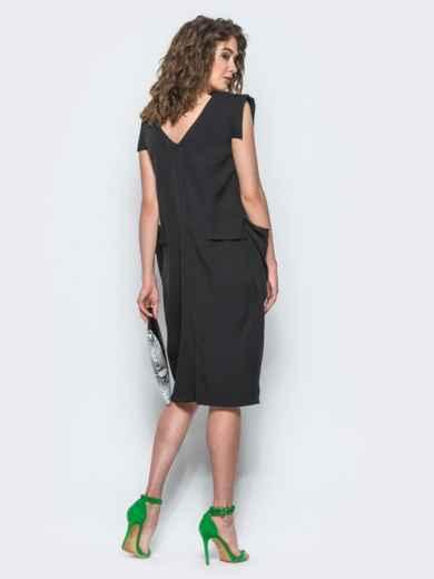 Черное платье с объемными карманами на полочке - 12503, фото 3 – интернет-магазин Dressa