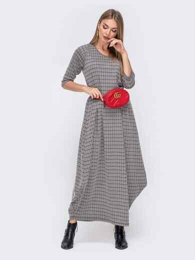 Длинное платье-баллон в клетку серое 40452, фото 1