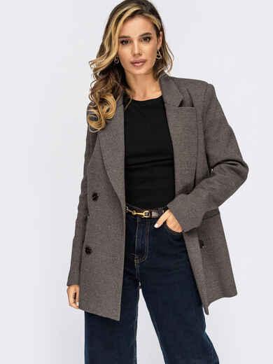 Двубортный пиджак из жаккарда серого цвета в полоску  55672, фото 1
