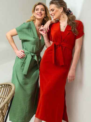 Льняное платье-макси с лацканами красное - 46869, фото 1 – интернет-магазин Dressa
