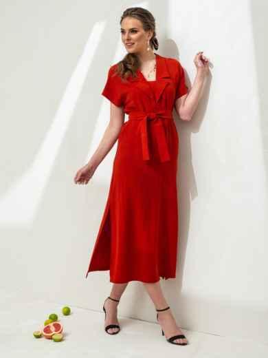 Льняное платье-макси с лацканами красное - 46869, фото 2 – интернет-магазин Dressa