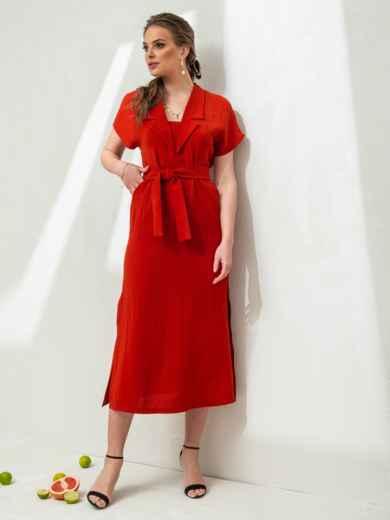 Льняное платье-макси с лацканами красное - 46869, фото 3 – интернет-магазин Dressa