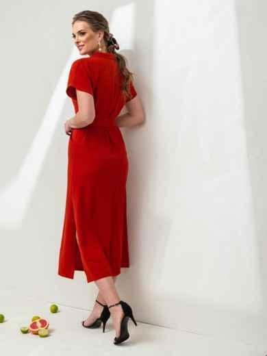 Льняное платье-макси с лацканами красное - 46869, фото 4 – интернет-магазин Dressa