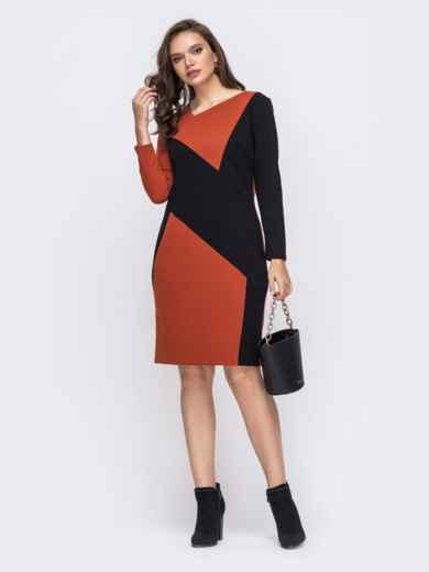 Оранжевое платье батал со вставкой черного цвета 51459, фото 1