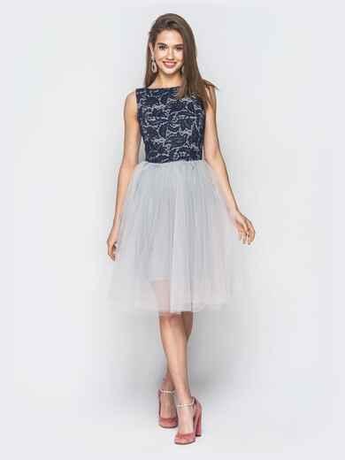 Платье без рукавов с фатиновой юбкой белого цвета 18808, фото 1
