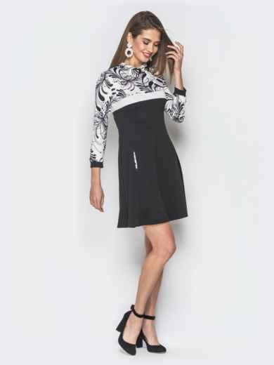 Платье черного цвета с контрастной вставкой - 18806, фото 2 – интернет-магазин Dressa