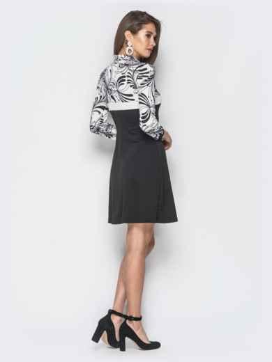 Платье черного цвета с контрастной вставкой - 18806, фото 3 – интернет-магазин Dressa