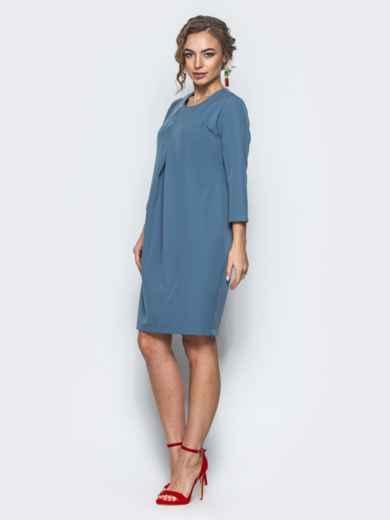 Платье со складкой и рукавами 3/4 синее - 12696, фото 2 – интернет-магазин Dressa