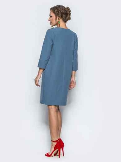 Платье со складкой и рукавами 3/4 синее - 12696, фото 3 – интернет-магазин Dressa